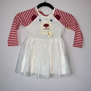 🌟 Beautiful Bear White and Red Striped Dress🌟